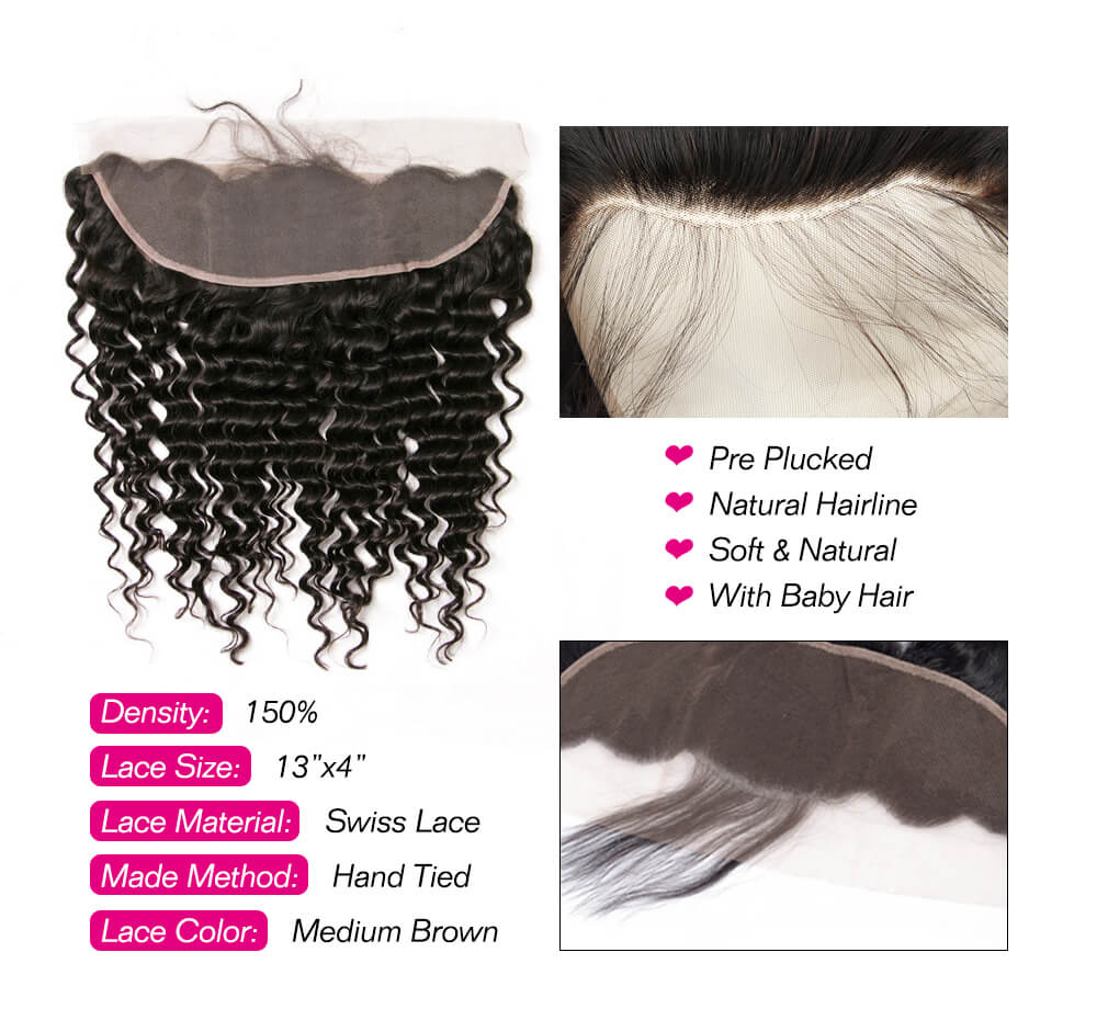 Msbeauty Virgin Brazilian Hair Deep Wave 3 Bundles And 13*4 Lace Frontal Closure - MSBEAUTY HAIR