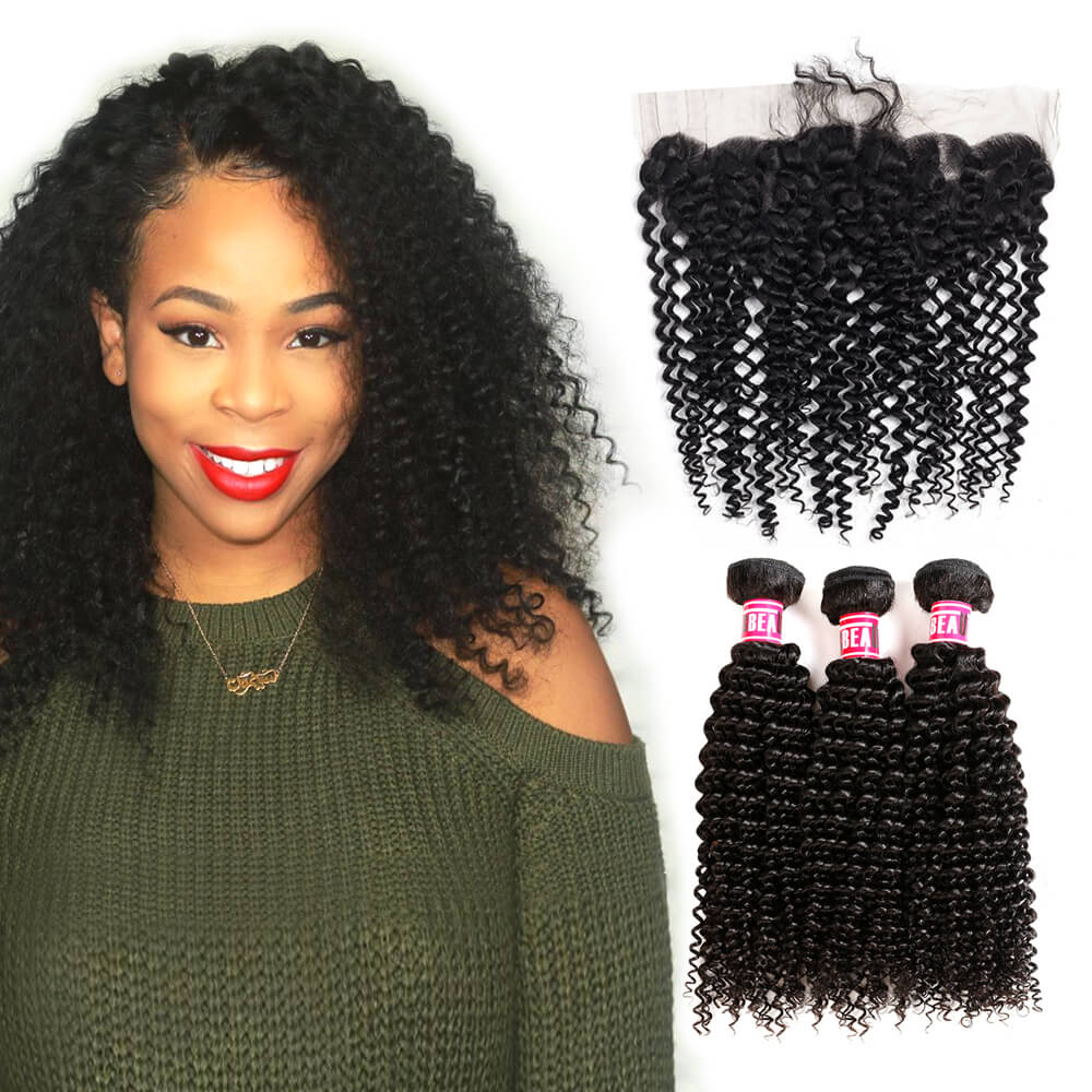 Msbeauty Brazilian Kinky Curly Human Hair Bundles 3 Pcs Sale With 13*4 Frontal Lace Closure - MSBEAUTY HAIR