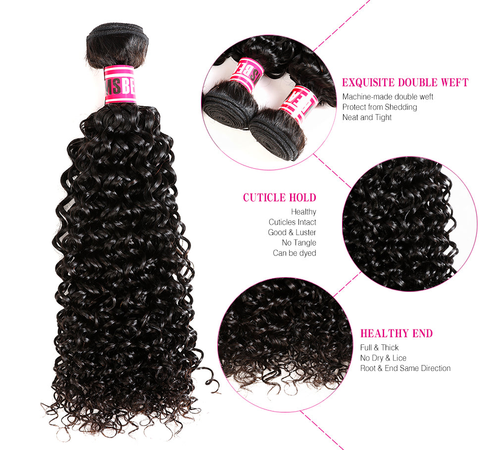 Msbeauty Brazilian Remy Hair Curly Hair Bundles 3 Pcs/ Pack With 4x4 Lace Closure Free Part - MSBEAUTY HAIR