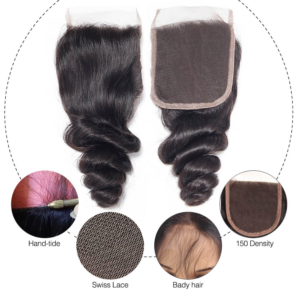 Msbeauty 8A Loose Wave Virgin Remy Human Hair 3 Bundles Deal With 4x4 Lace Closure Free Part - MSBEAUTY HAIR