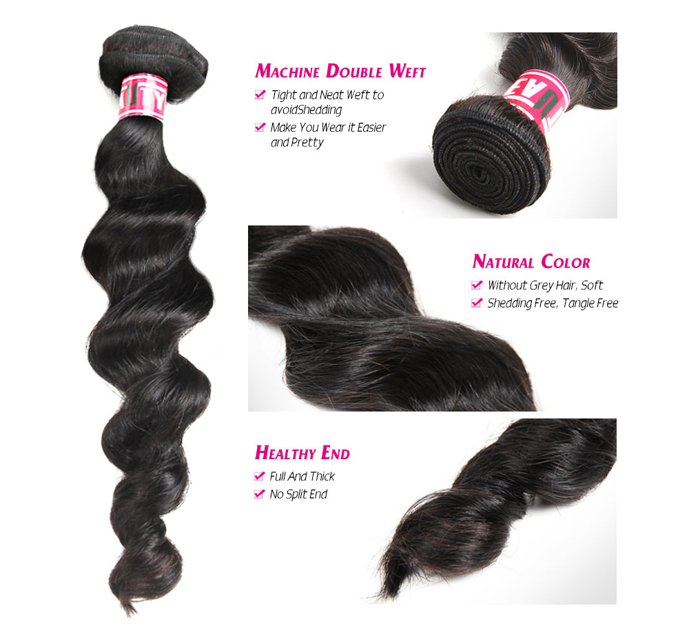 Msbeauty Peruvian Hair 8A Loose Loose Wave Human Hair Bundles 4 Pcs Sale - MSBEAUTY HAIR