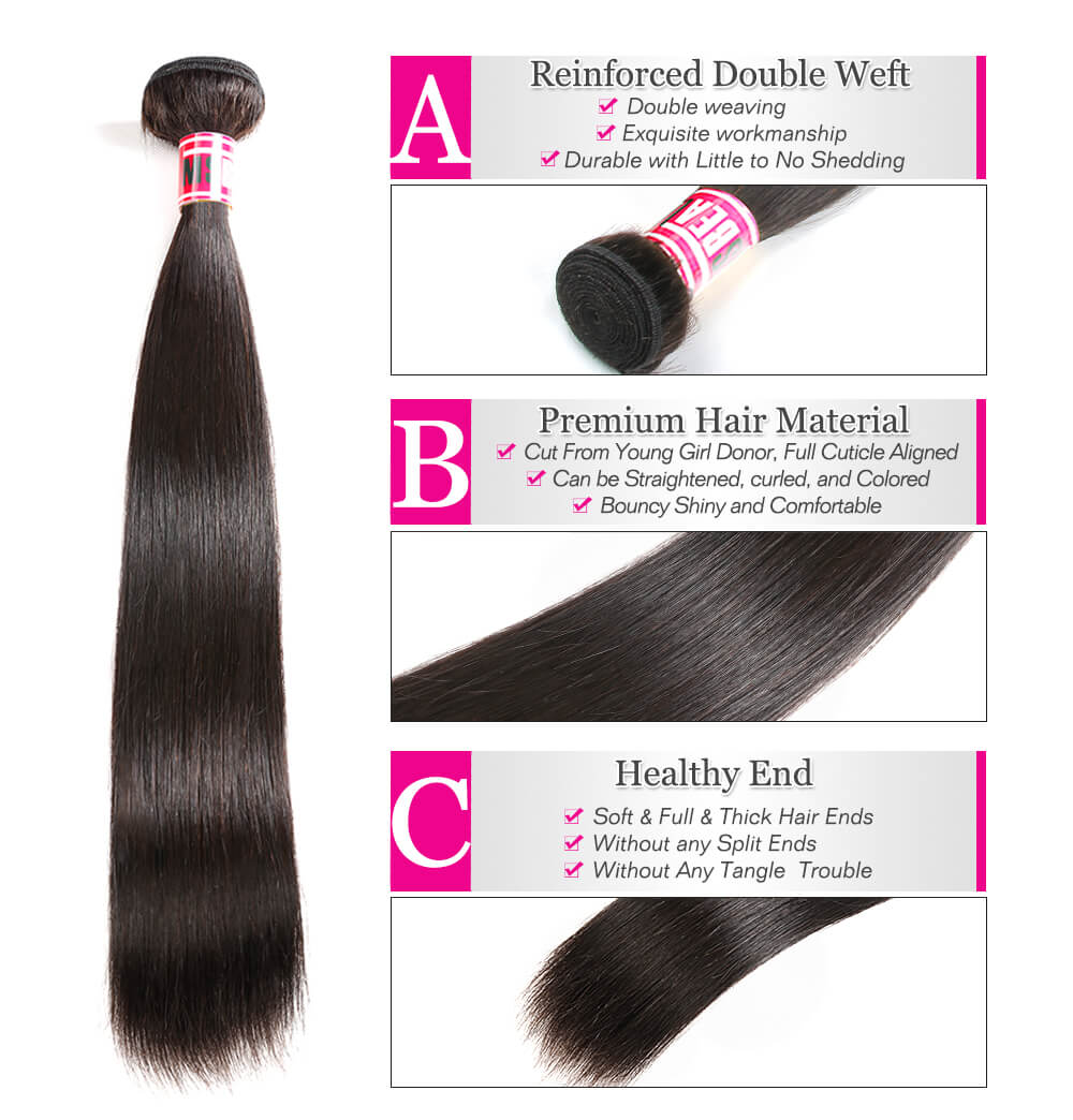 "Msbeauty Peruvian Straight Remy 3 Bundles And 13*4 Lace Frontal 10""-20"" Hair Closure - MSBEAUTY HAIR"