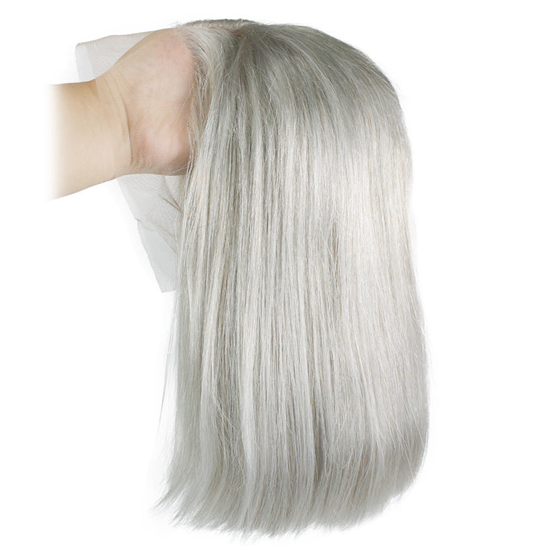 Msbeauty Silver Grey Lace Front Bob Straight Wig 170% Density Summer Trendy Hair Color - MSBEAUTY HAIR