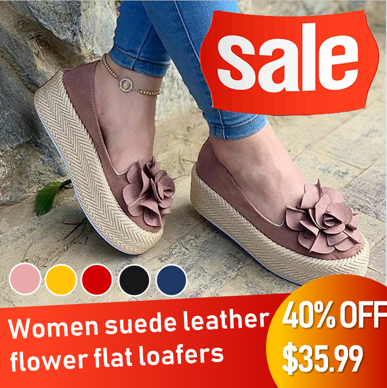 *Hot Sale* Women Suede Leather Flower Platform  Flat Casual Loafer Slip-on Shoes