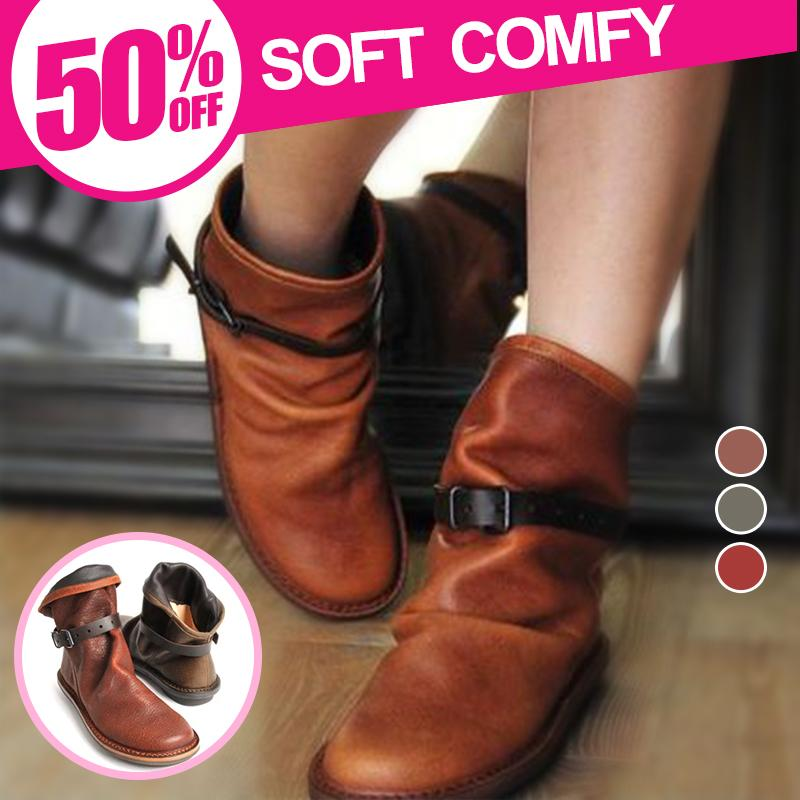 *ON SALE* Woman Round-toe Flat Casual Adjustable Boots/ Waterproof/ SOFT COMFY
