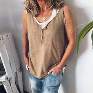 2019 Women's fashion V-Neck Buttoned Sleeveless Top