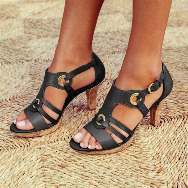 Women Elegant Buckle Strap Sandals - getanne
