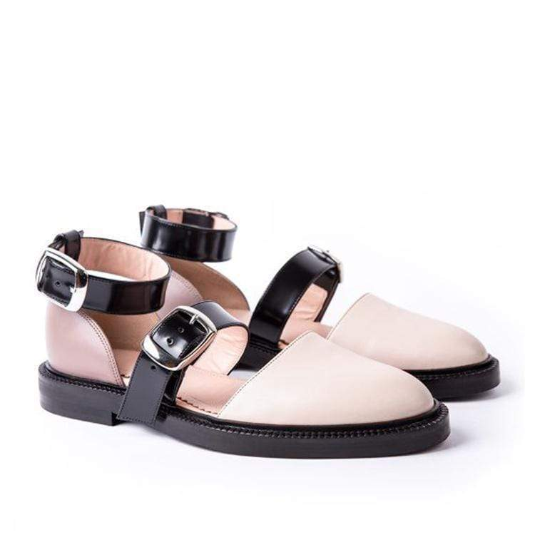 Blocking Color Chic  Buckle Flat Sandal