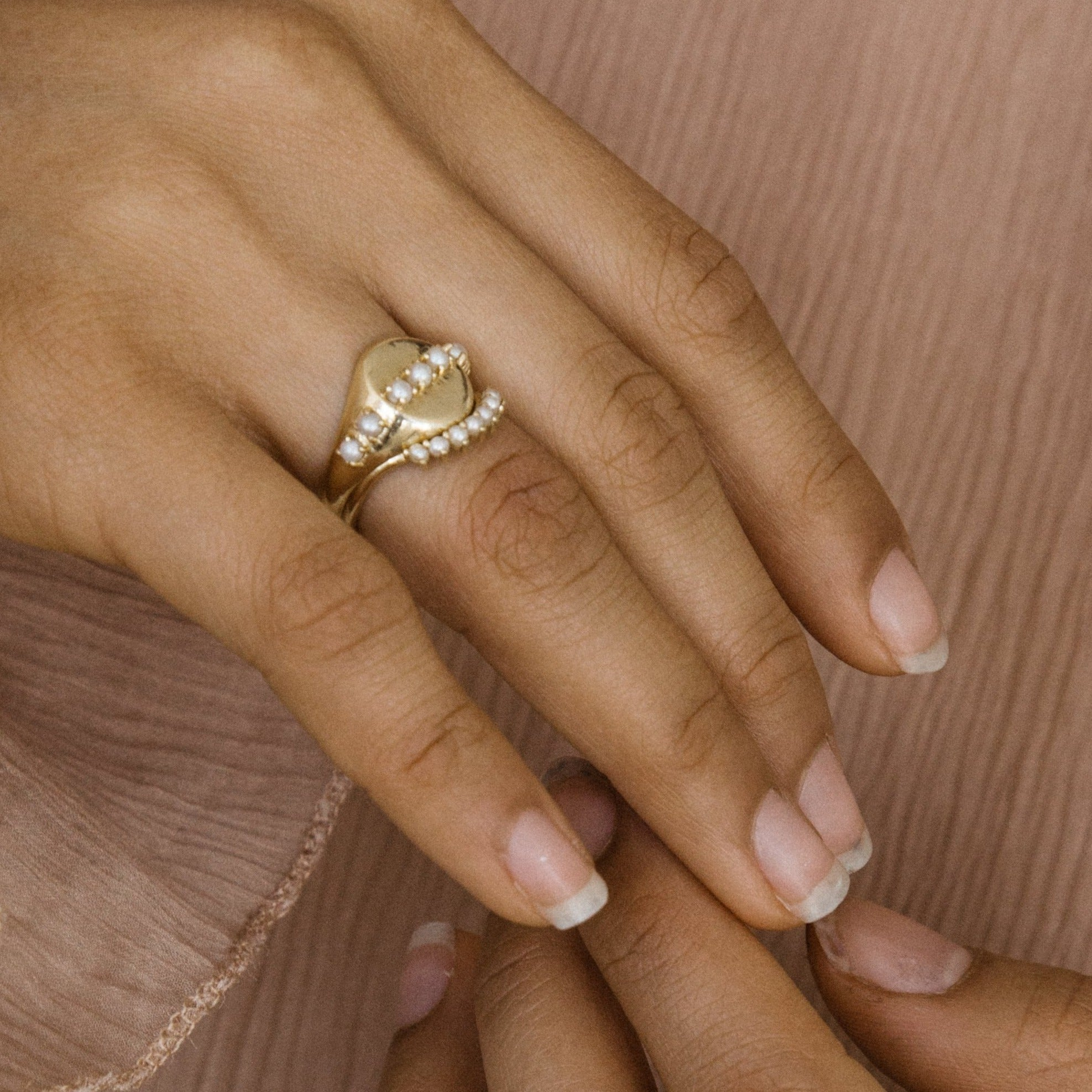Syed Pearl Signet Ring - Haati Chai