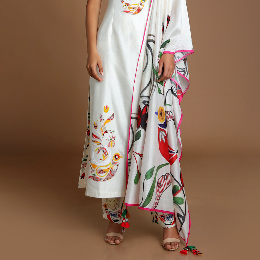 Ivory Applique Embroidered Kurta with Of Birds & Bees Pants and Dupatta