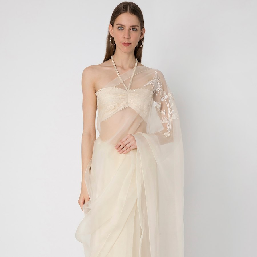 Ivory Organza Silk Saree with Ivory Lace Bustier