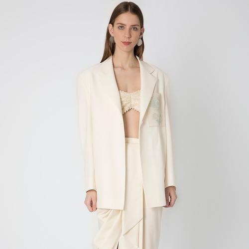 Ivory Over Sized Blazer with Draped Skirt