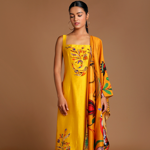 Mustard Applique Embroidered Kurta with Of Bird & Bees Pants and Dupatta