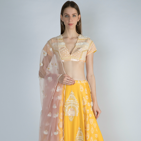 Ivory Manuscript Print Organza & Pearl Embroidered Crepe Half and Half Sari with Pearl Bustier