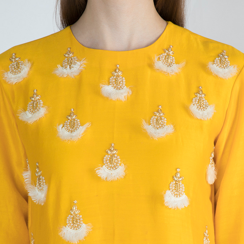Ivory Cowled Top with Dhoti