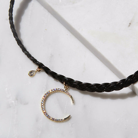 Kelso Leather Choker with Moon