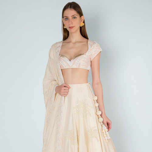 Ivory Pearl Embroidery Blouse & Lehenga with Ivory Crush Dupatta