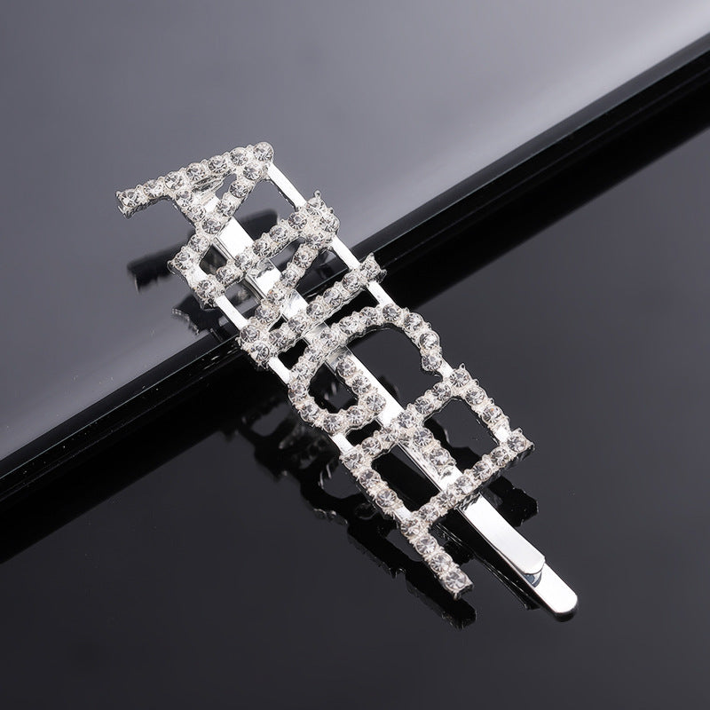 Twelve Constellations Fashion Rhinestone Letter Bobby Pin, Word Crystal Hair pin, Metal Hair Clips, Sparkly Hair Accessories for Women - Rose Hair