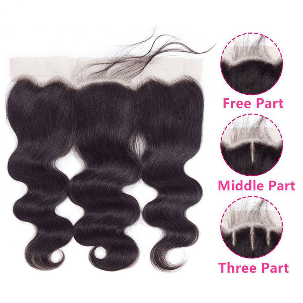 10A Grade Brazilian 4 Bundles Body Wave Human Virgin Hair With 13x4 Lace Frontal Pre Plucked - Rose Hair