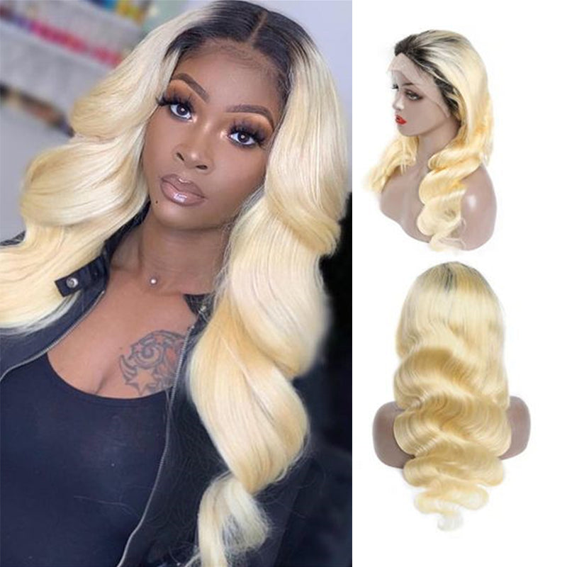 150% Density 13*4 Lace Frontal Wig Mix Color Brazilian Virgin Hair - Rose Hair
