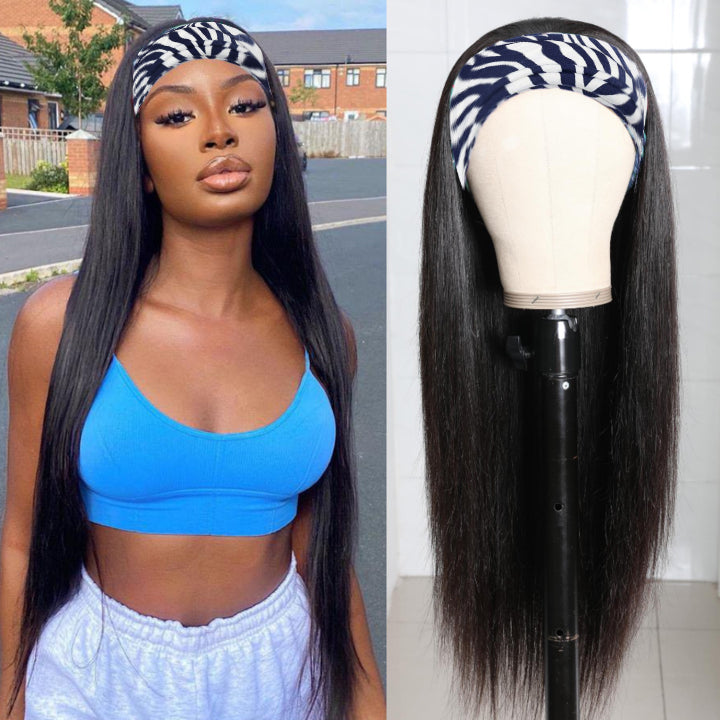 RoseHair Straight Hair  Headband Wig Glueless Human Hair Wig With Pre-attached Scarf Half Wig 150% Density - Rose Hair