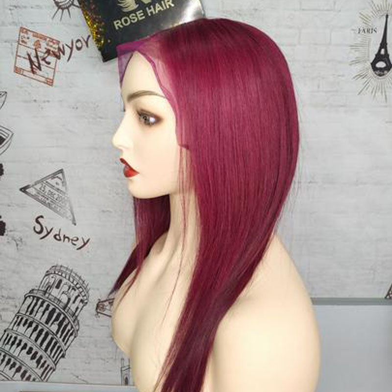 Rose Hair Burgundy Red Color Human Virgin Hair Pre-plucked Lace Frontal Straight Hair Wig - Rose Hair