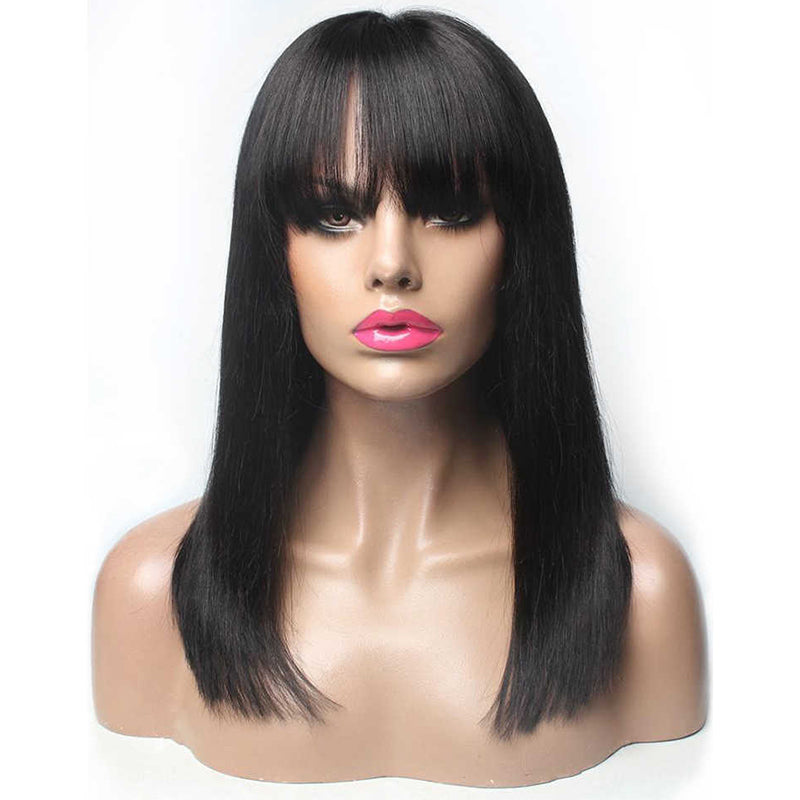 RoseHair 15A Brazilian Straight Hair  Human Hair Wig Bob Wig With Free Part Bangs Machine Made Glueless Breathable Wig Supper Soft Affordable - Rose Hair