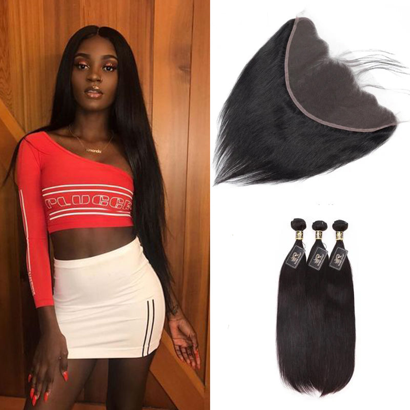 10A Grade Straight Pre Plucked 13x6 Lace Frontal with 3 Bundles Best Brazilian Virgin Hair - Rose Hair