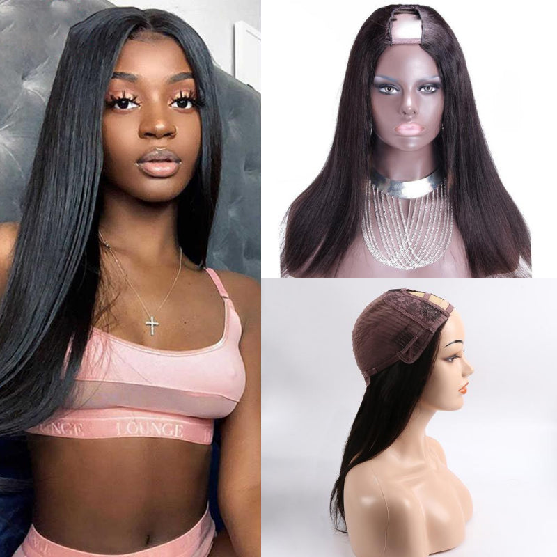 70% Off U Part Wig Quick & Easy Affordable Human Straight Hair Wig - Rose Hair