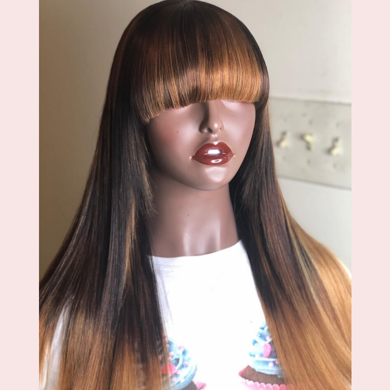 Super Fashion Colorful 13*4 Lace Frontal Straight Human Hair Wigs With Bangs The Same As The Hairstyle In The Picture - Rose Hair