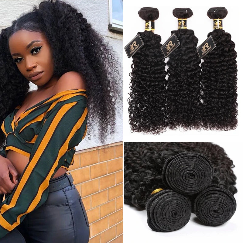 10A Grade 3PCS Kinky Curly Best Brazilian Virgin Hair Bundles - Rose Hair