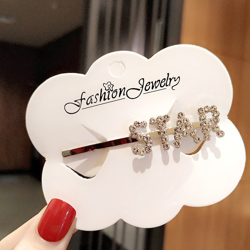 Fashion Rhinestone Letter Bobby Pin, Word Crystal Hair pin, Metal Hair Clips, Sparkly Hair Accessories for Women - Rose Hair