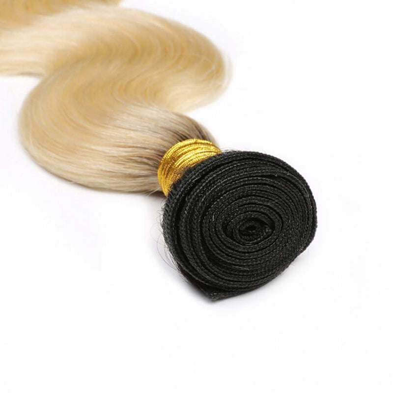10A Grade 3 Bundles Brazilian Virgin Hair Body Wave #T1b/613 Blonde Color With 1 PCS 4*4 Lace Closure - Rose Hair