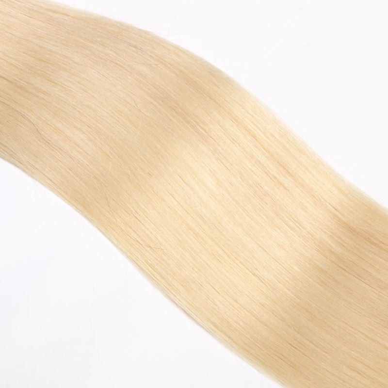 10A Grade 3 Bundles Brazilian Virgin Straight Hair #T1b/613 Blonde Color With 1 PCS 4*4 Lace Closure - Rose Hair