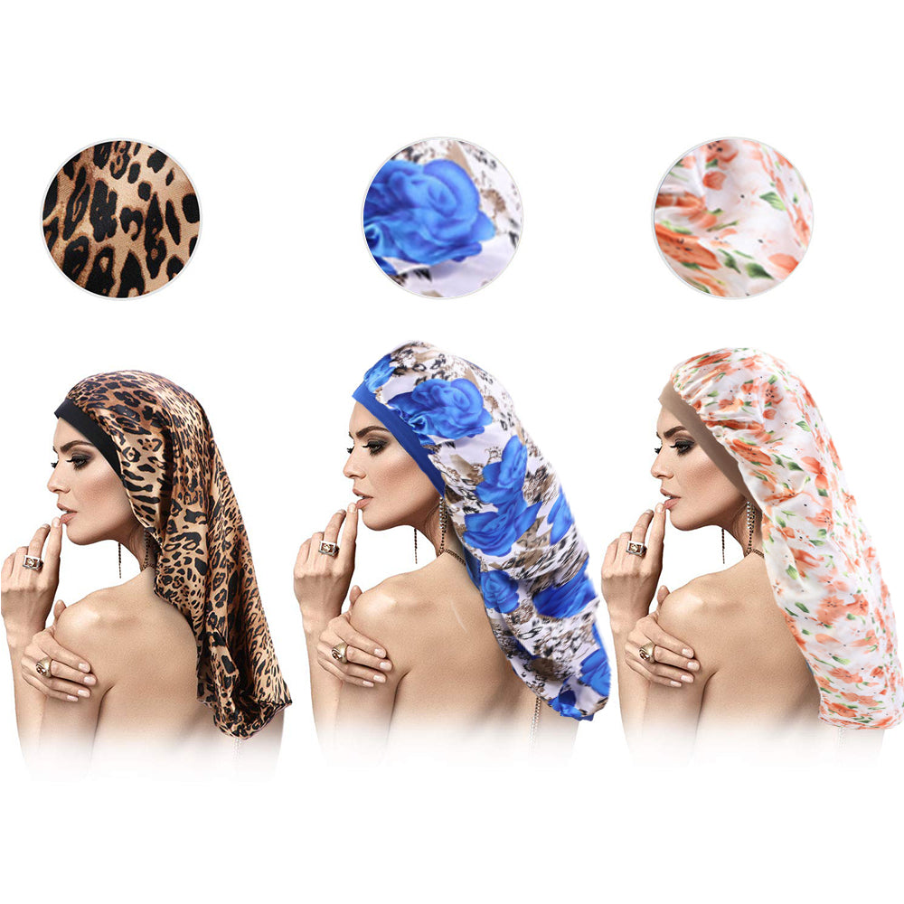 Rosehair 1pcs Braid Bonnet for Sleeping Sleep Bonnet Cap Long Bonnet for Braids Silky Elastic Band for Women Dreadlocks Braid Long Hair - Rose Hair