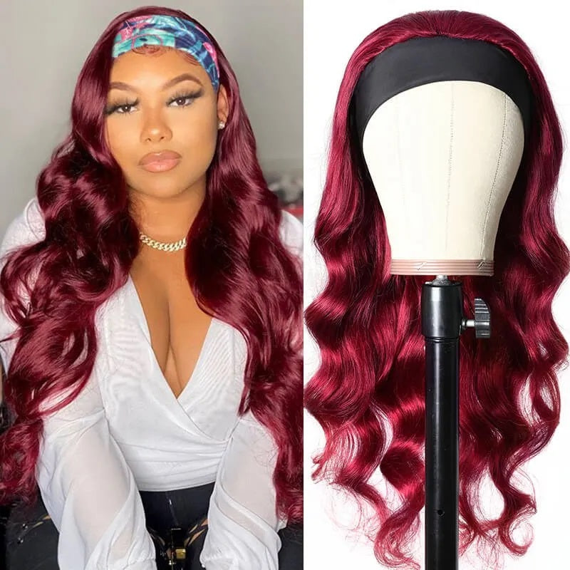 Rose Hair Glueless Headband Wig Human Virgin Hair Burgundy Red Color Hair Loose Wave Wig Easily Install - Rose Hair