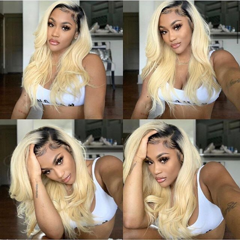 Rose Hair Transparent 13*4 Lace Front Wig Human Hair #613/T1b Lace Wigs Body Wave Hair - Rose Hair