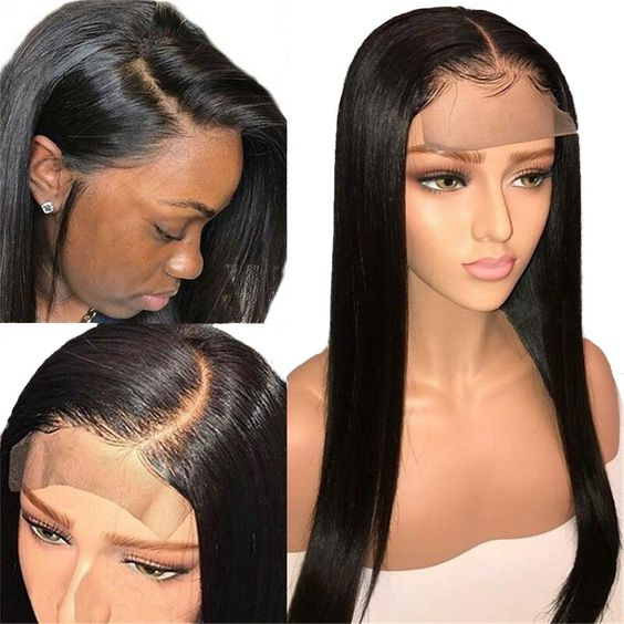 4*4 Lace Front Human Hair Wigs Middle Part Straight Hair - Rose Hair
