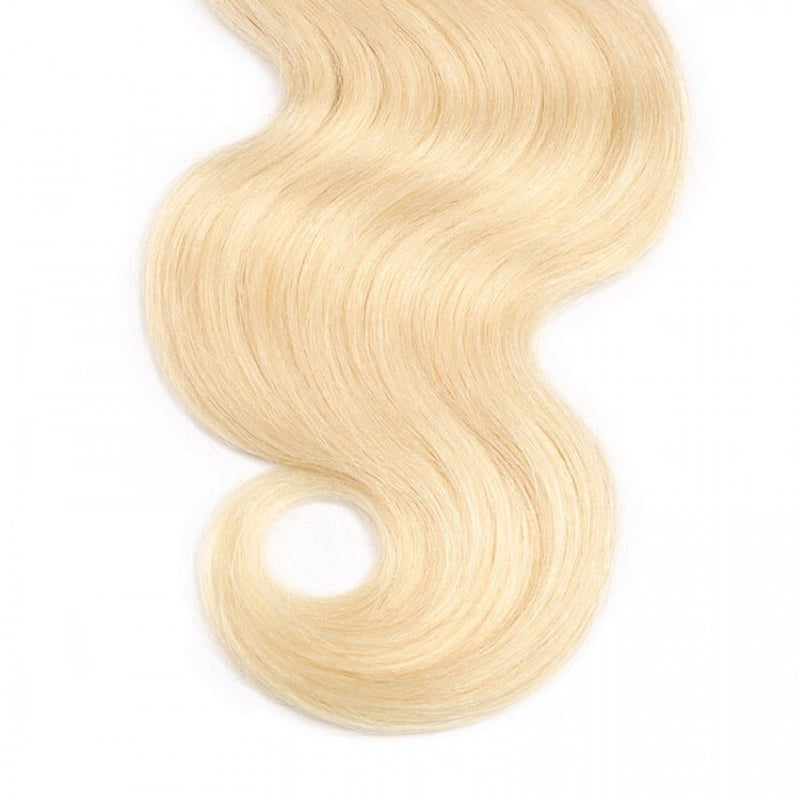 10A Grade Body Wave #T1b/613 Blonde Color Pre Plucked 13x4 Lace Frontal with 3 Bundles Best Brazilian Virgin Hair - Rose Hair