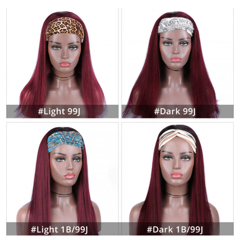 Rose Hair Glueless Headband Wig Human Virgin Hair Burgundy Red Color Hair Straight Wig Easily Install - Rose Hair