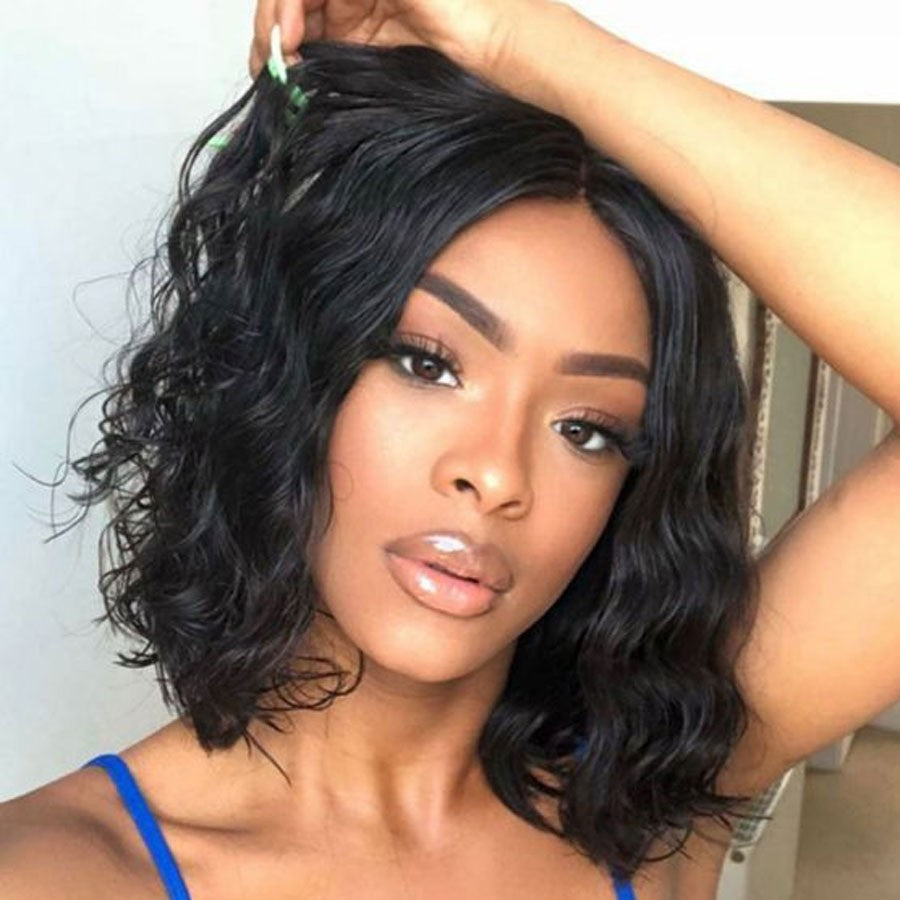 Big Sale Human Hair Lace Closure Wig Straight 10 Inches Natural Wave Bob Wig Free Shipping - Rose Hair