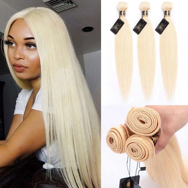 10A Grade 3PCS Straight #613 Color Blonde Hair Best Brazilian Virgin Hair Bundles - Rose Hair