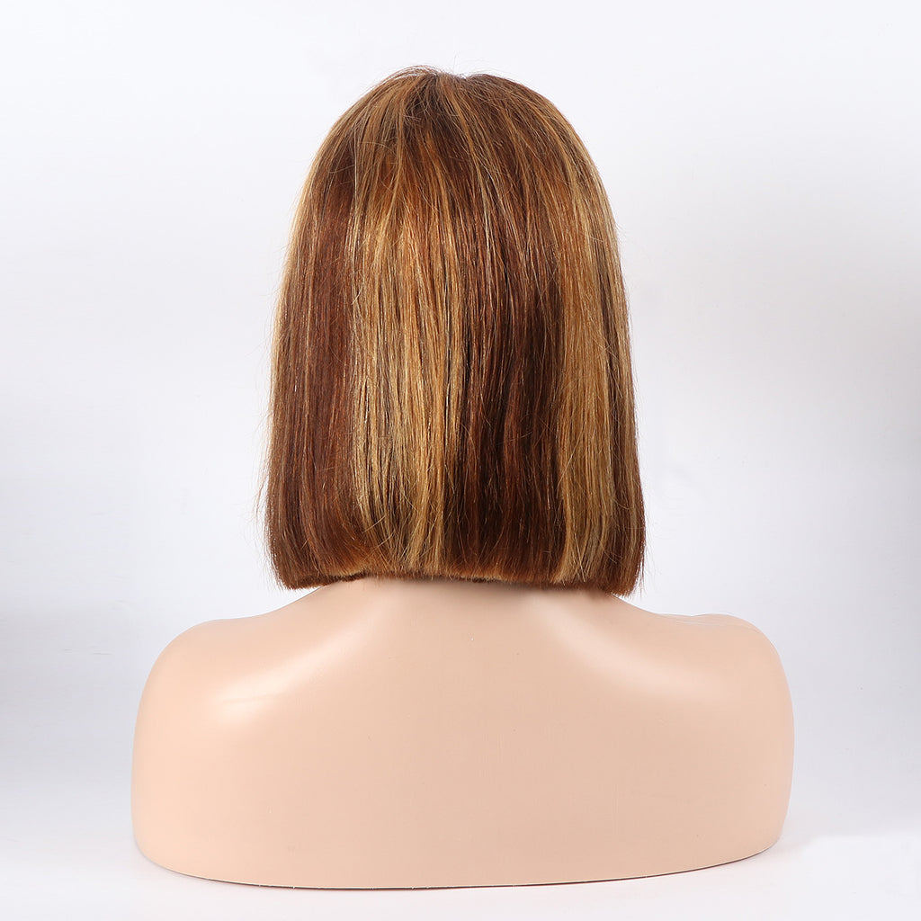 4*4 Lace Closure Human Hair Bob Wigs Middle Part Fashion Color Straight Hair - Rose Hair