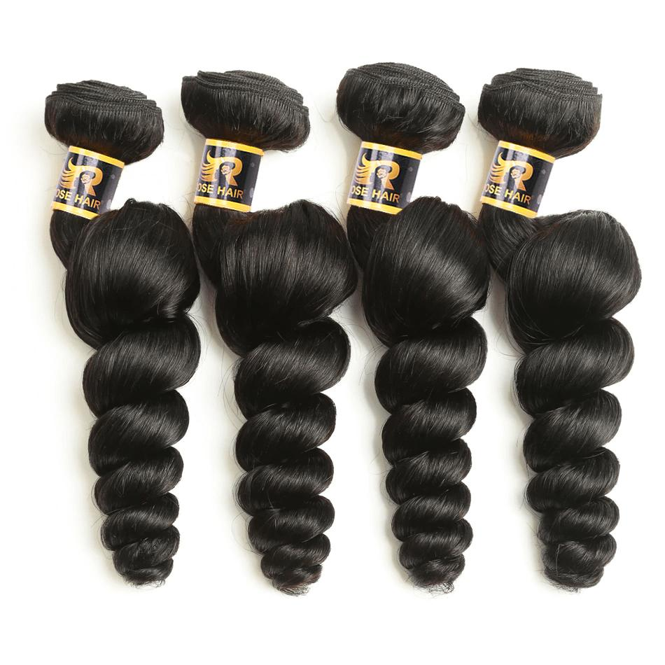 10A Grade Brazilian 4 Bundles Loose Wave Human Virgin Hair With 13x4 Lace Frontal Pre Plucked - Rose Hair