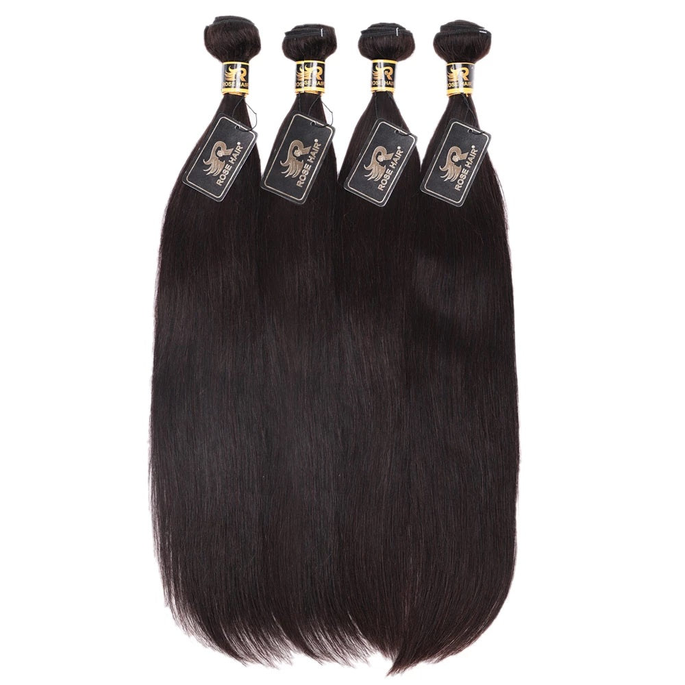 10A Grade Pre Plucked 13x6 Lace Frontal With 4 Bundles Best Brazilian Virgin Hair Weave Ear to Ear Frontal Straight Human Hair - Rose Hair