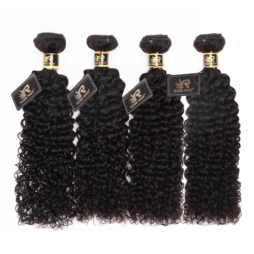 10A Grade 4PCS Kinky Curly Best Brazilian Virgin Hair Bundles - Rose Hair