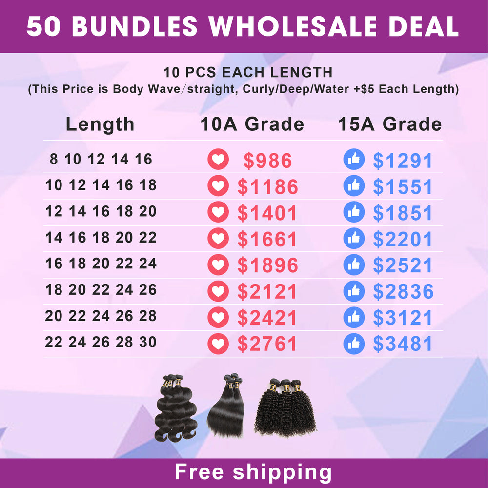 Wholesale Rosehair 10A/15A Grade 50 Bundles All Texture Brazilian Unprocessed Hair Deal - Rose Hair