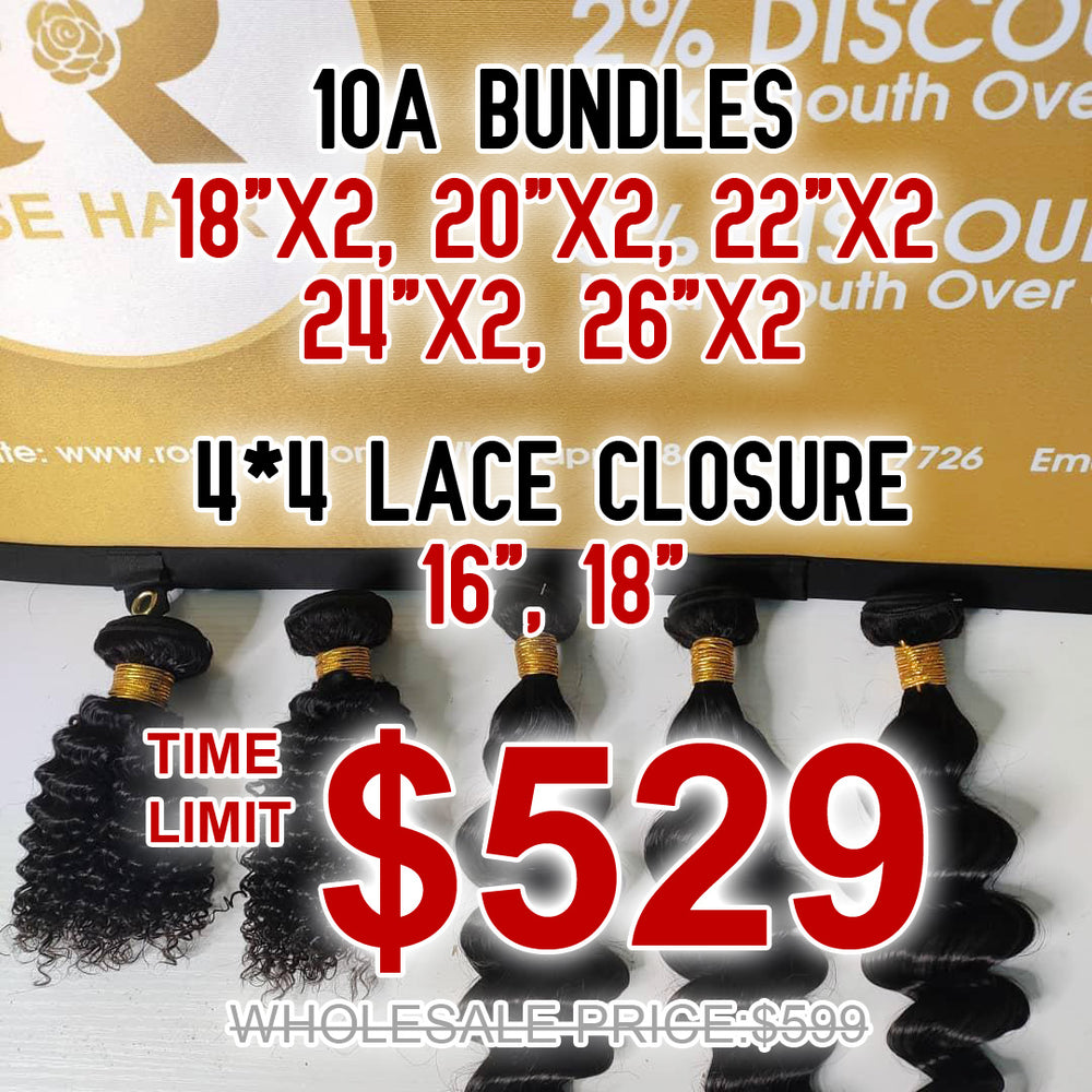 10A Grade Bundles with 4*4 Lace Closure Package Deal - Rose Hair