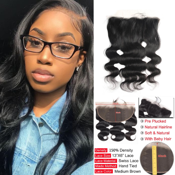 Rose Hair 1PCS Pre Plucked 13*6  Lace Frontal Brazilian Human Virgin Hair Body Wave - Rose Hair