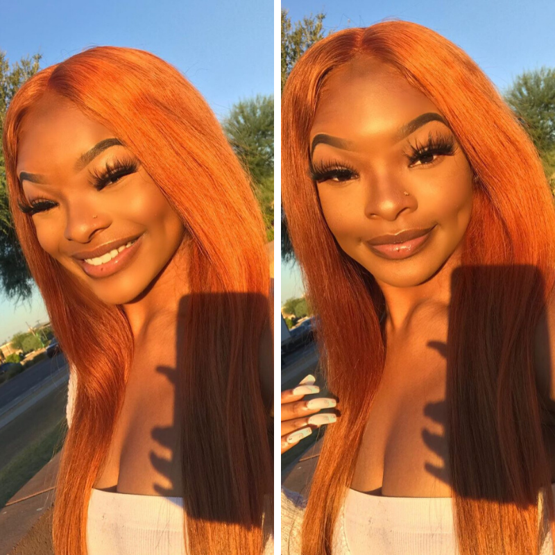 Rose Hair Human Brazilian Virgin Orange Color Hair Lace Frontal Wig 2020 New Fashion Hairstyle - Rose Hair